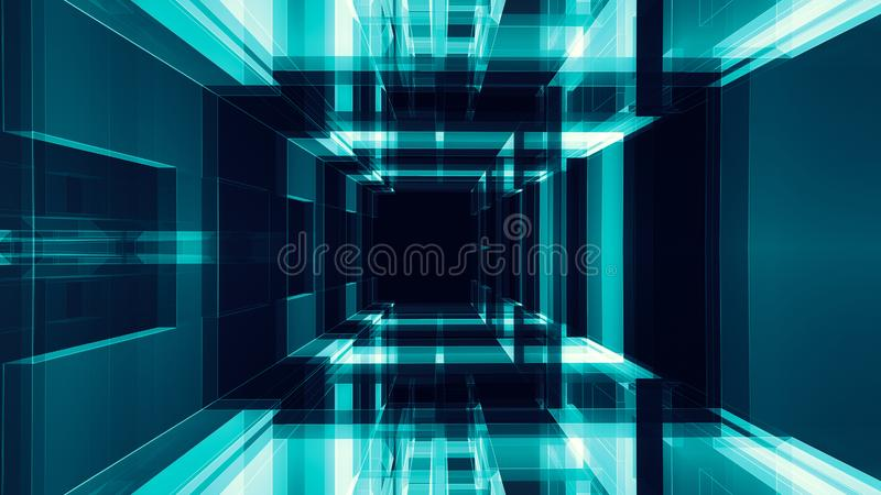 Transparenter abstrakter Glashintergrund blaue des Gl?hens schwarze Farb stock abbildung