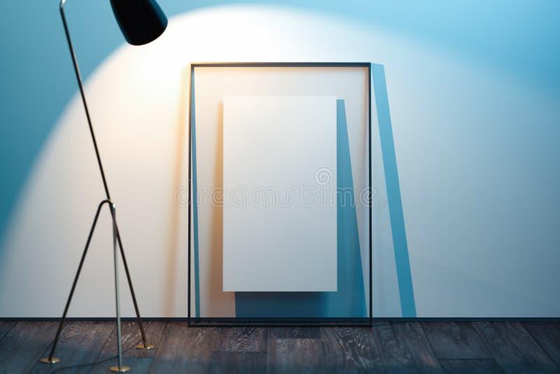 Transparenter Fotorahmen mit leerem Plakat nahe bei hellen W?nden, Wiedergabe 3d lizenzfreie abbildung