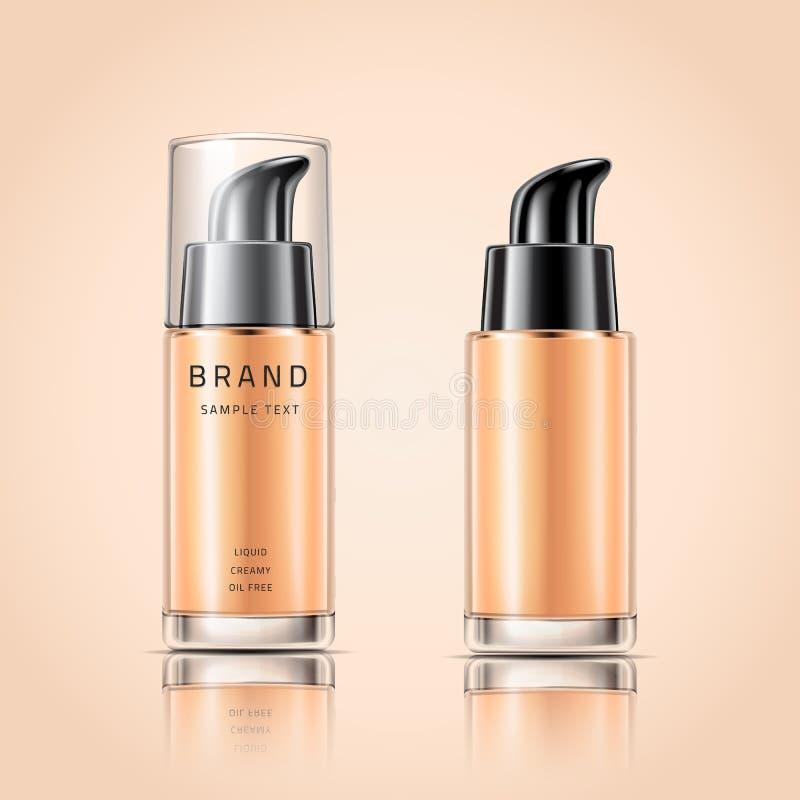 Transparenter Glasbehälter für Flüssigkeit der flüssigen Grundierung oder der Creme auf Hintergrund Kosmetische Verpackungsgestal vektor abbildung