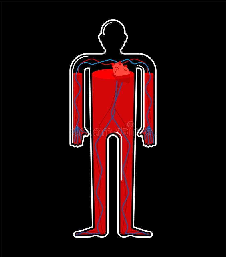 Transparenter Glaskörper und Blut Körperflasche innerhalb der roten Flüssigkeit stock abbildung