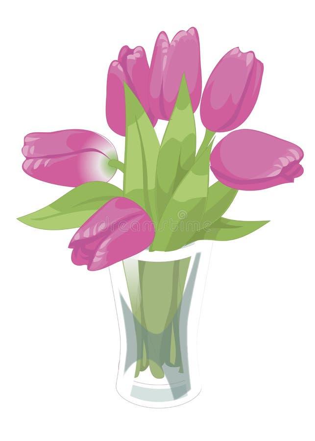 Transparenter GlasVase mit rosa Tulpen Flache Illustration des Vektors Auf weißem Hintergrund lizenzfreie abbildung