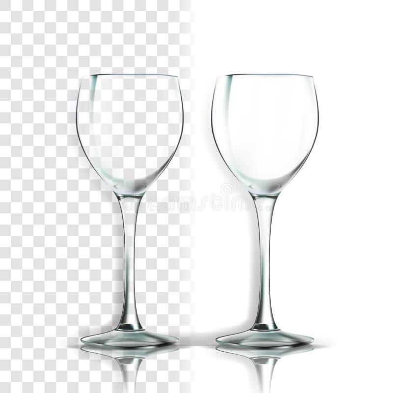 Transparenter Glasvektor Küchendesign Leere Klarglas-Schale Für Wasser Getränk, Wein, Alkohol, Saft, Cocktail lizenzfreie abbildung