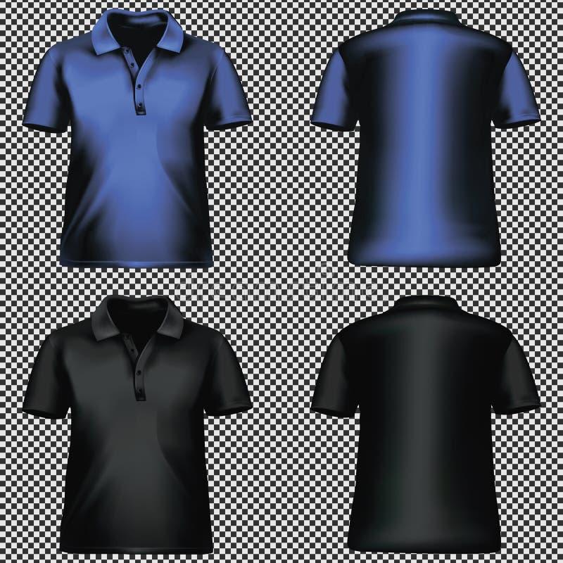 Transparenter Hintergrund der leeren T-Shirt Schablone blauen Schwarzen Vektor stock abbildung
