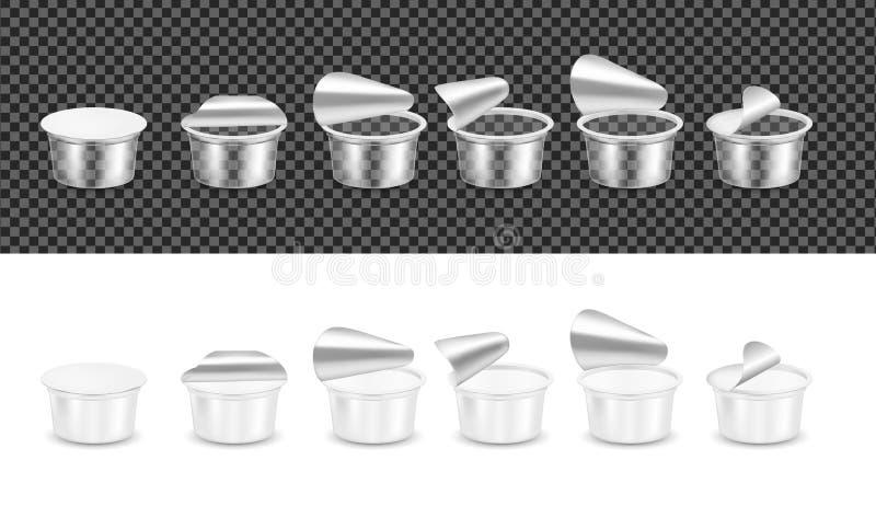 Transparenter leerer Plastikbehälter für Jogurt Open verpackend für Sahne lizenzfreie abbildung
