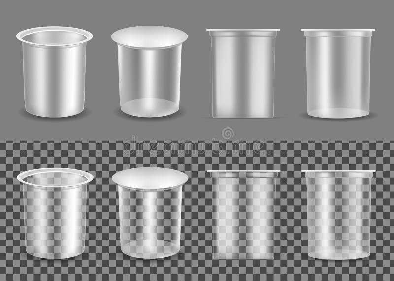 Transparenter leerer Plastikbehälter für Jogurt Verpacken für Sahne und Soße vektor abbildung