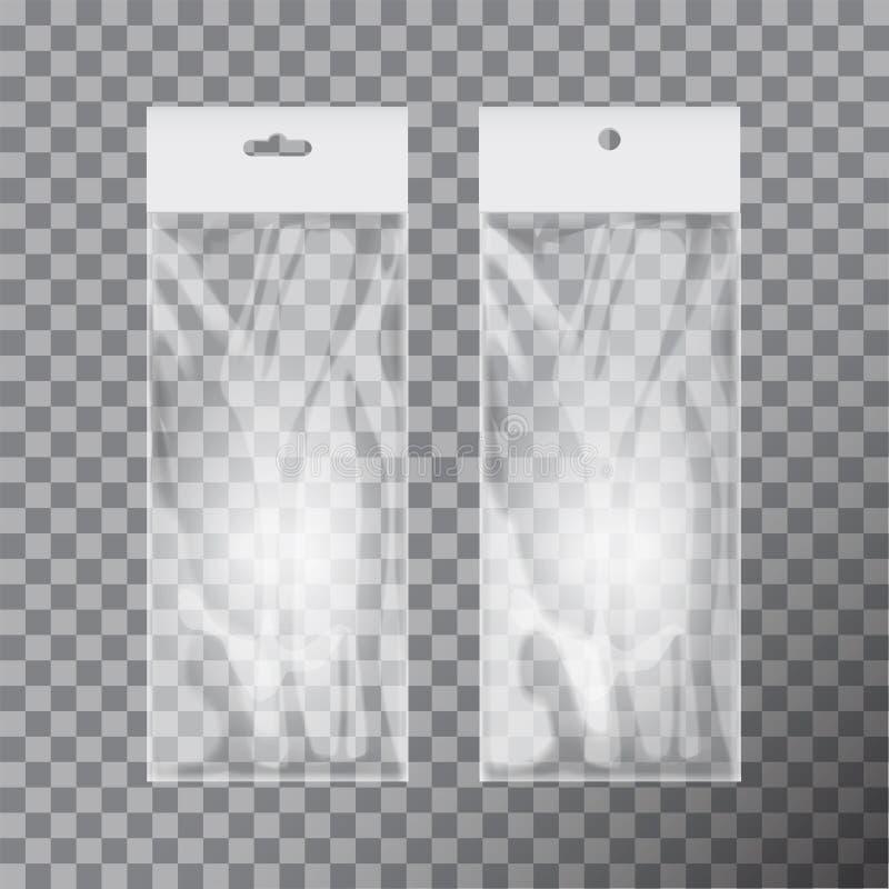 Transparenter leerer Plastiktascheschablonensatz Weiße Verpackung mit Fallschlitz Modell-Vektorillustration lizenzfreie abbildung