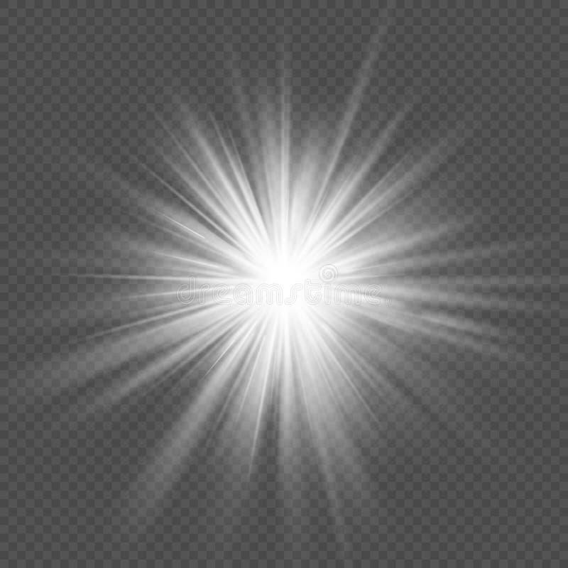 Transparenter Lichteffekt der Weißglühensternexplosionsaufflackernexplosion ENV 10 stock abbildung