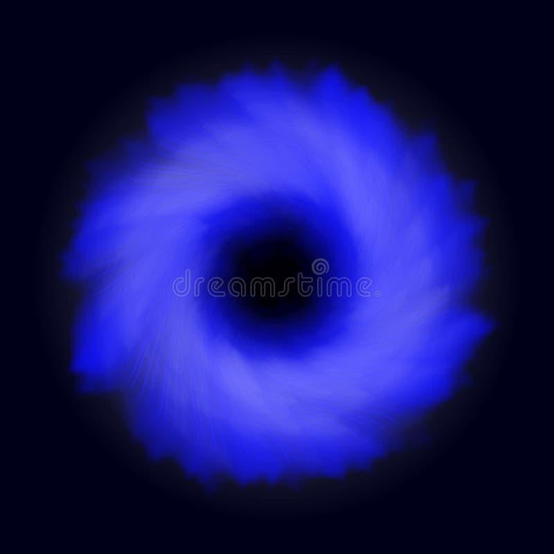 Transparenter Lichteffekt des schwarzen Lochs Raumturbulenz Blauer Auszug lizenzfreie abbildung