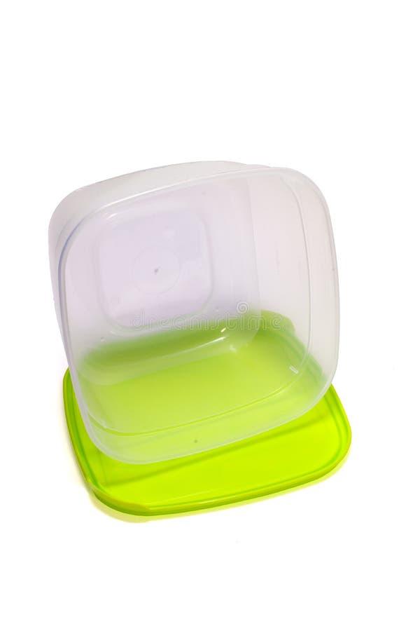 Transparenter Plastikbehälter für das Mittagessen, mit Beschneidungspfad lizenzfreie stockbilder