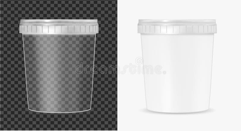 Transparenter Plastikeimer f?r Nahrung, Sahne, So?e und Imbiss stock abbildung