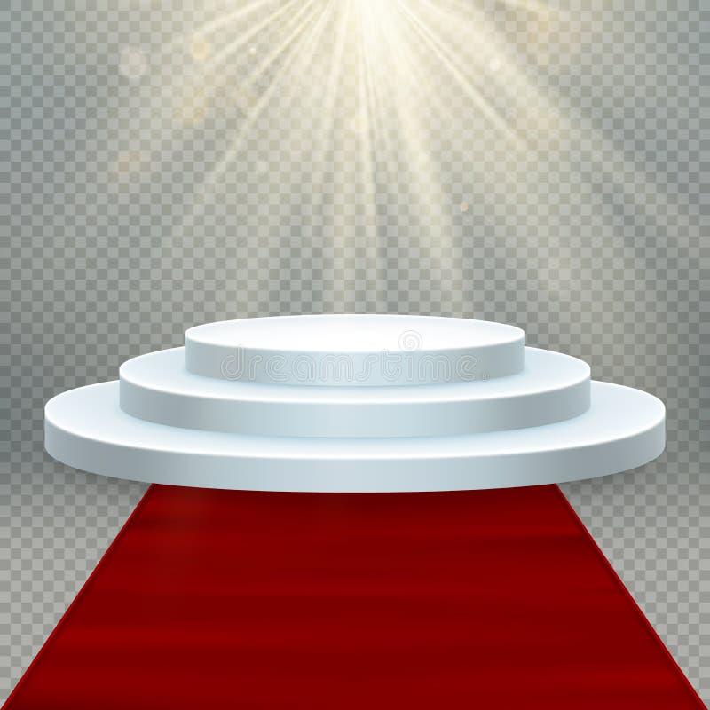 Transparenter realistischer Effekt Roter Teppich und rundes Podium mit Lichtern für Ereignis oder Siegerehrung ENV 10 vektor abbildung