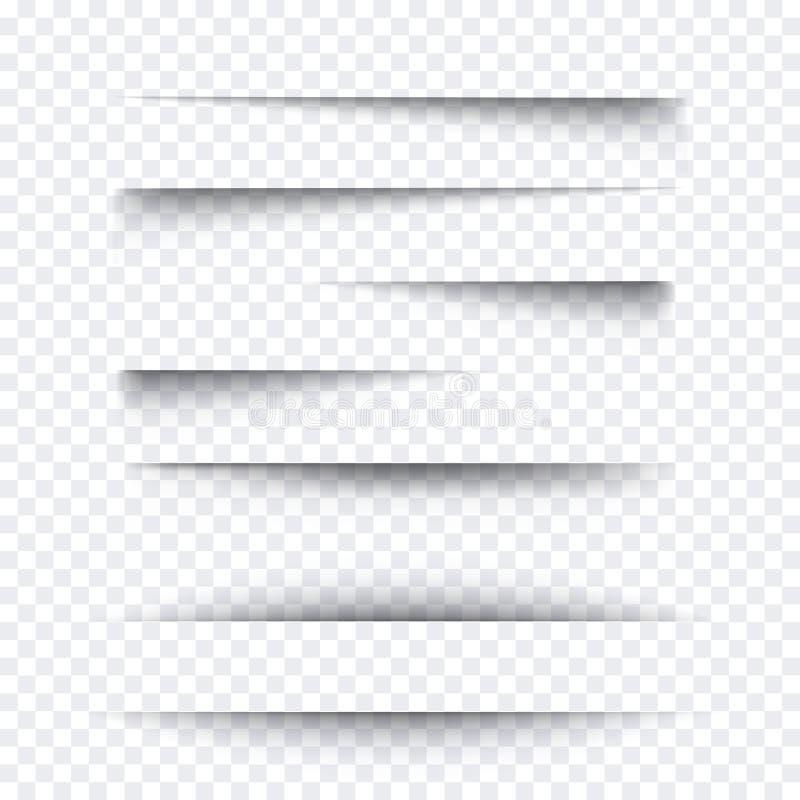 Transparenter realistischer Papierschatteneffektsatz Abbildung im Vektor Element für die Werbung und fördernde Mitteilung an loka lizenzfreie abbildung
