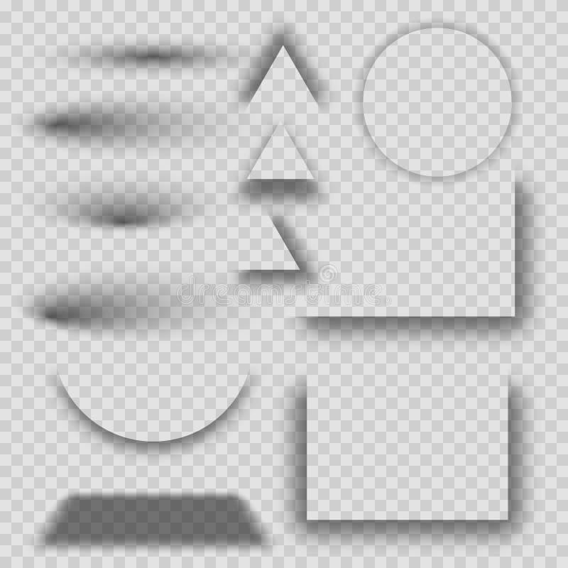 Transparenter realistischer Schatteneffektsatz Stellen Sie von der Runde, vom Dreieck und von den quadratischen Schatteneffekten  lizenzfreie abbildung