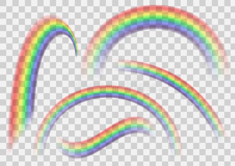 Transparenter Regenbogensatz Regenbogensammlung lokalisiert auf transparentem Vektorhintergrund für die Herstellung von realistis stock abbildung