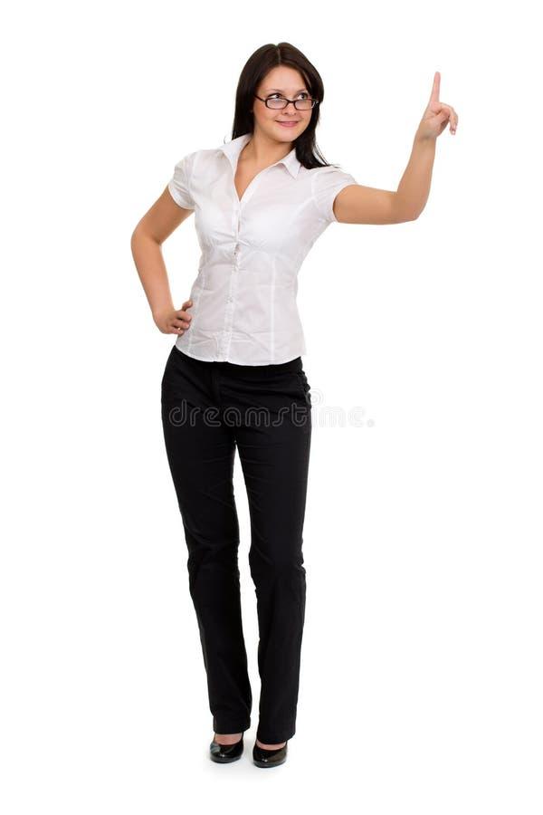 Transparenter Schlüssel der rührenden virtuellen Auflage der Brunettegeschäftsfrau mit stockbilder