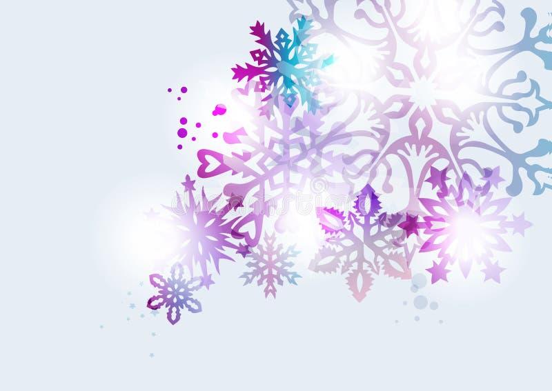 Transparenter Schneeflockenweihnachtskartenhintergrund stock abbildung
