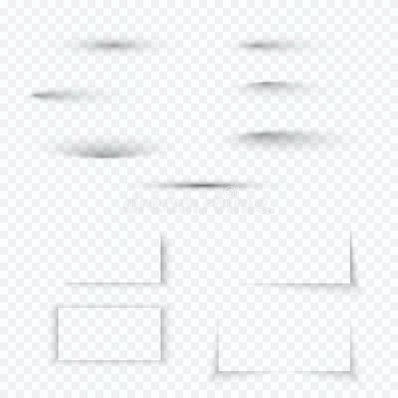 Transparenter weicher Schattensatz Realistische Schatteneffektsammlung mit weichem Rand Auch im corel abgehobenen Betrag stock abbildung