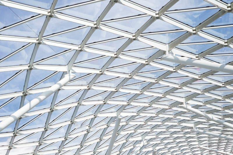 Transparentes Fenster des Stahlglasdachdeckenwand-Baus stockfotografie