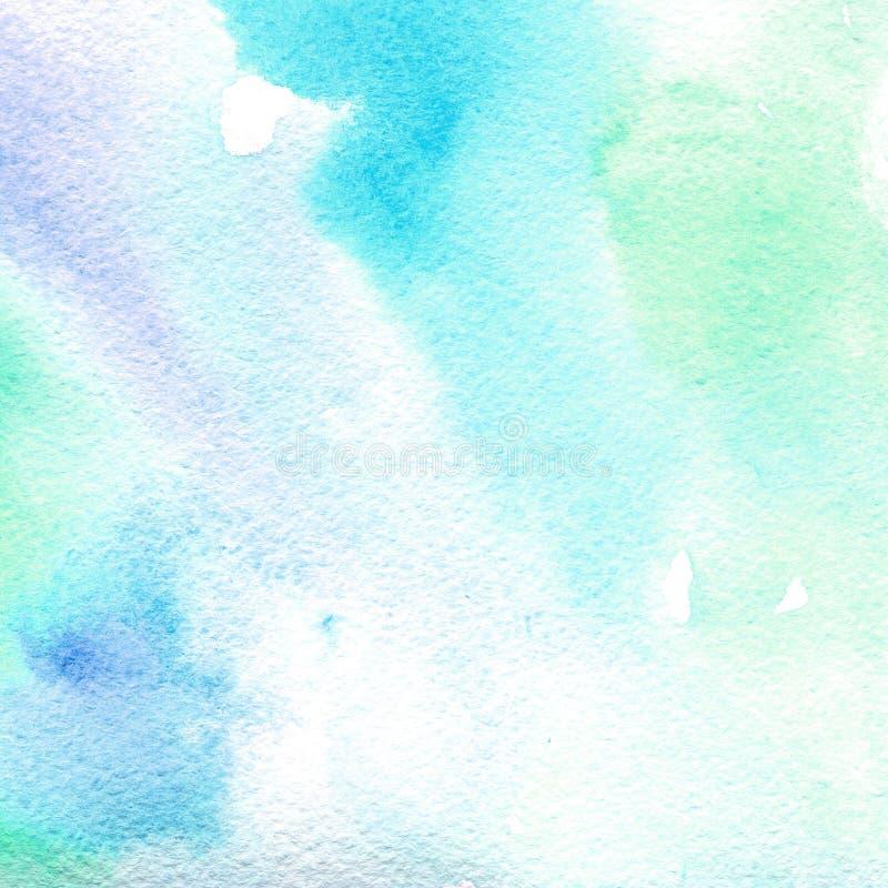 Transparentes hellblaues der Aquarellbeschaffenheit abstrakter Hintergrund, Stelle, Unschärfe, Fülle vektor abbildung