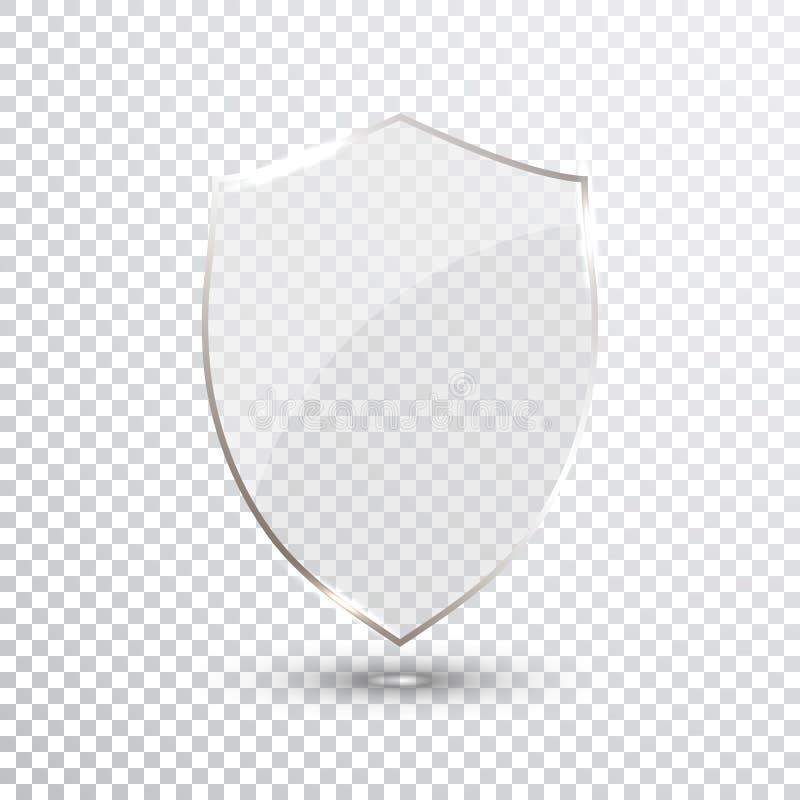 Transparentes Schild Sicherheitsglas-Ausweis-Ikone Privatleben-Schutz Banner Schutzschildkonzept Dekorations-sicheres Element Ver lizenzfreie abbildung