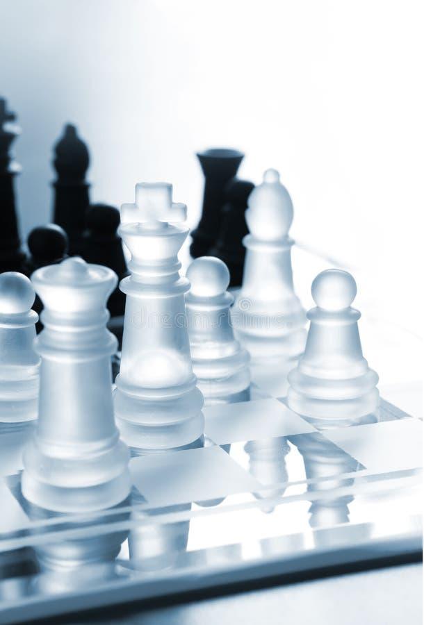 Transparentes Schwarzweiss-Schach stockfotografie