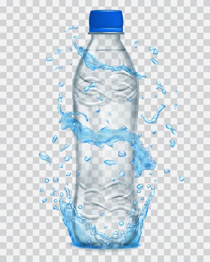 Transparentes Wasser spritzt in den hellblauen Farben um eine transparente Plastikflasche stock abbildung