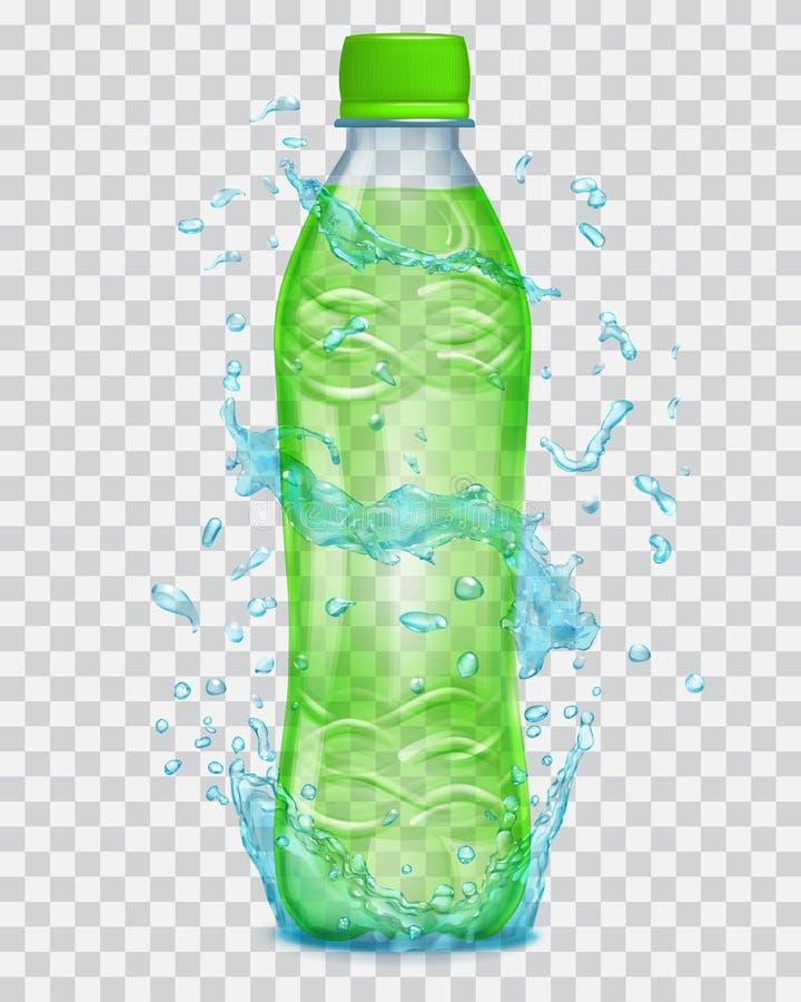 Transparentes Wasser spritzt um eine Plastikflasche mit Saft vektor abbildung