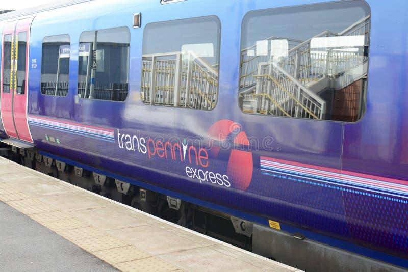 TransPennine Express Train. At Buckshaw Parkway railway station, located on Buckshaw village, Lancashire, UK royalty free stock photos