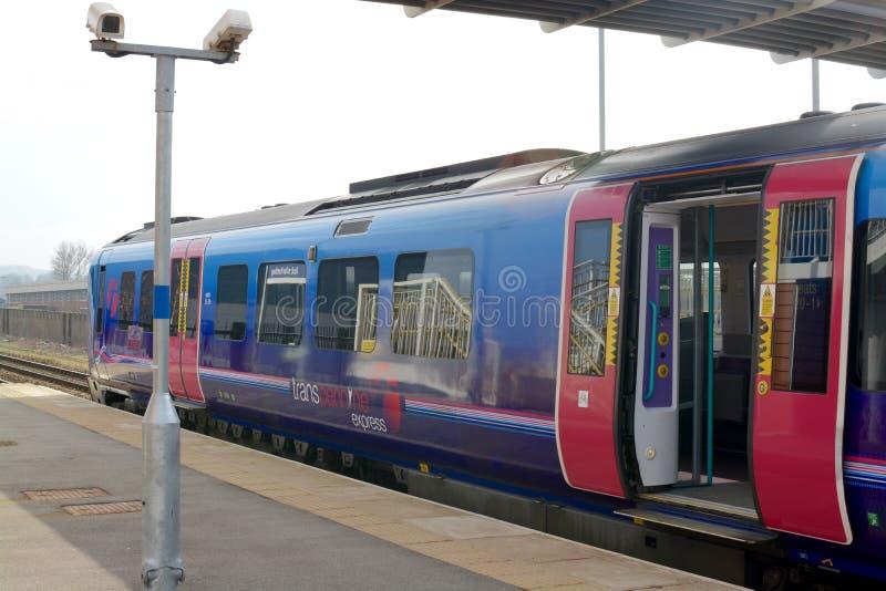 TransPennine Express train. At Buckshaw Parkway railway station, located on Buckshaw village, Lancashire, UK royalty free stock photography