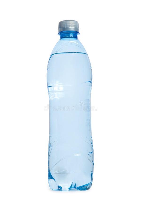 Transperent blaue Plastikflasche Wasser getrennt auf weißem backg stockfoto