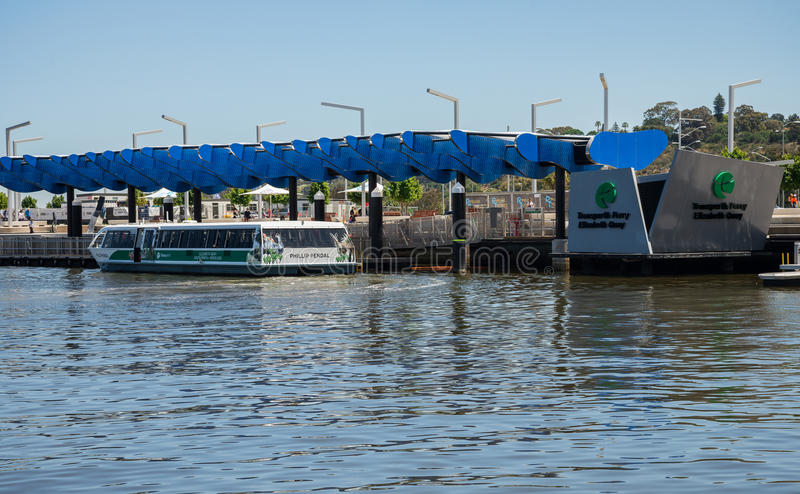 Transperth public ferry at Elizabeth Quay Jetty in Perth City. Western Australia stock images