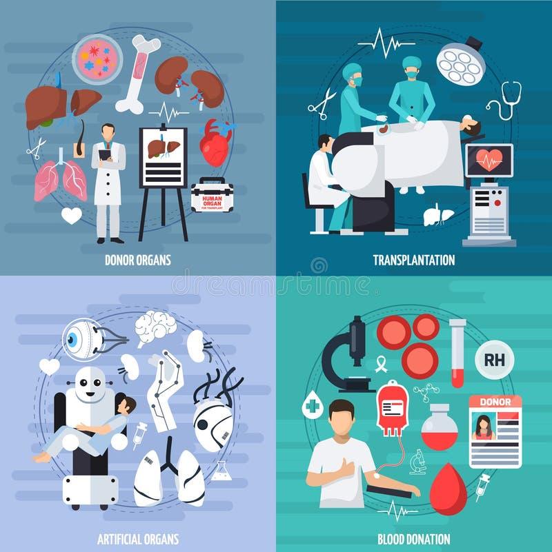 Transplantation 2x2 Design Concept vector illustration