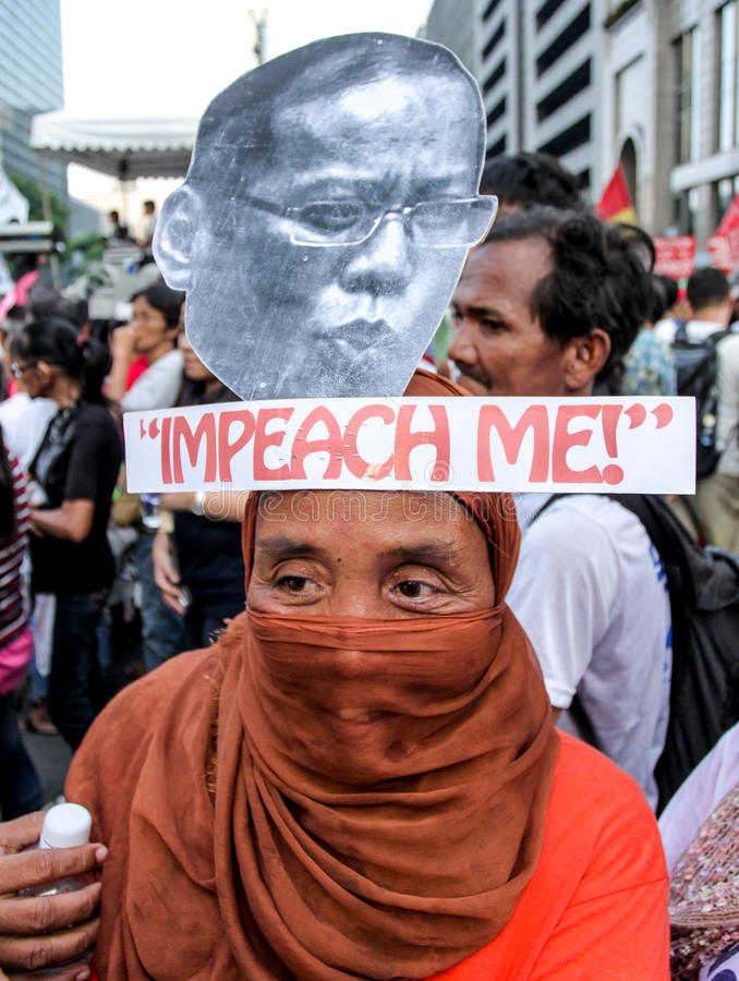 Transplantation und Korruption protestiert in Manila, Philippinen stockfotografie