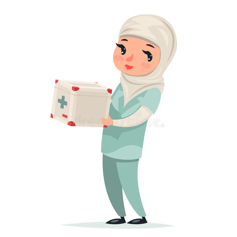 Transplantations-Chirurg-Krankenschwester-Female Girl Cute-arabischer Doktor mit Erste-Hilfe-Set-Medizin-Kasten-Kühlschrank-Verse lizenzfreie abbildung