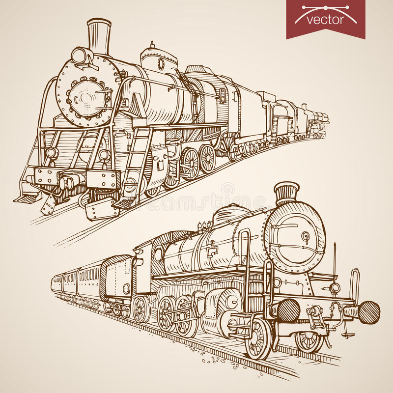 Transpor поезда вектора гравировки винтажной нарисованное рукой бесплатная иллюстрация