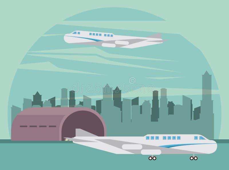 Transportów pasażerów samolotu handlowa kreskówka ilustracji