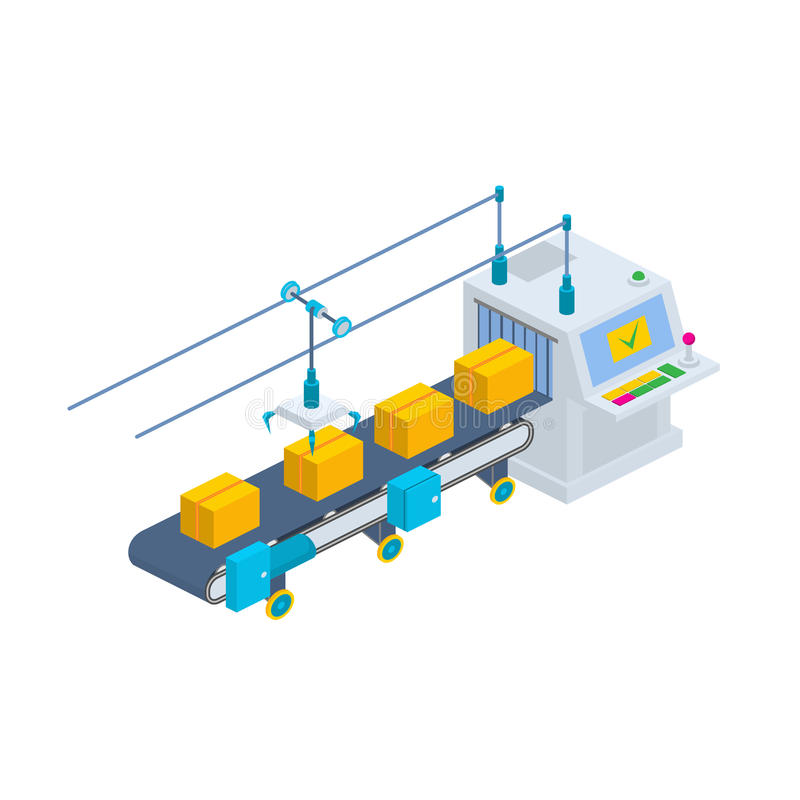 Transportörvektorillustration Isometrisk li för industriell produktion arkivfoto