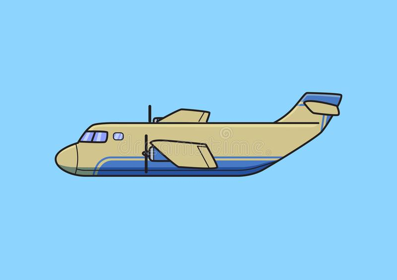 Transport aircraft, cargo airplane. Flat vector illustration. Isolated on blue background. royalty free illustration