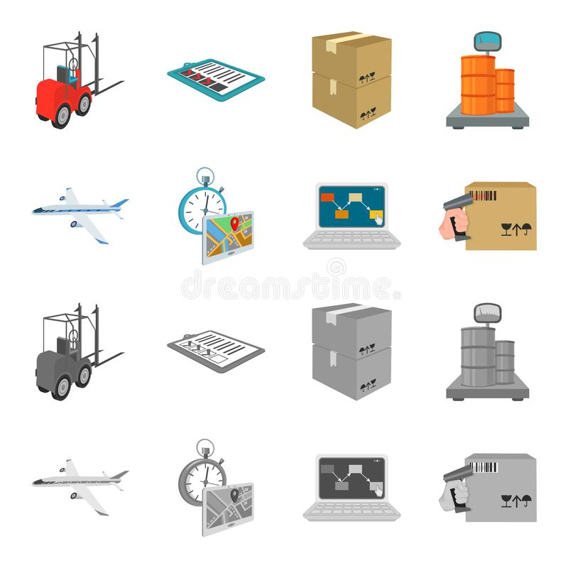 Transport aircraft, delivery on time, computer accounting, control and accounting of goods. Logistics and delivery set. Collection icons in cartoon,monochrome royalty free illustration