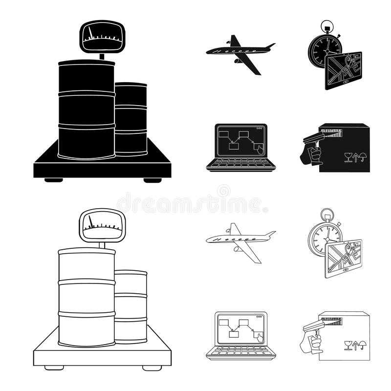 Transport aircraft, delivery on time, computer accounting, control and accounting of goods. Logistics and delivery set. Collection icons in black,outline style royalty free illustration