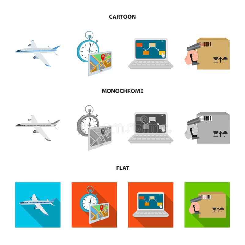 Transport aircraft, delivery on time, computer accounting, control and accounting of goods. Logistics and delivery set. Collection icons in cartoon,flat vector illustration