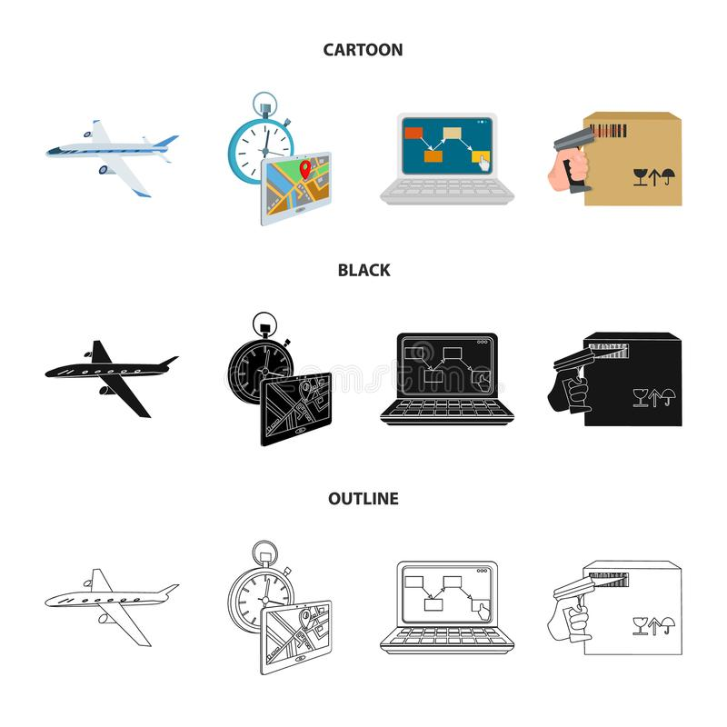 Transport aircraft, delivery on time, computer accounting, control and accounting of goods. Logistics and delivery set. Collection icons in cartoon, black royalty free illustration
