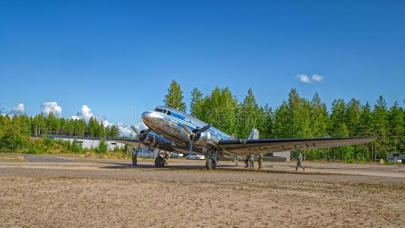 Transport aircraft Douglas DC-3A-447 OH-LCH Airveteran, one of the six DC-3`s still flying in Scandinavia today, in Finnish. KOTKA, FINLAND - Aug 10, 2019 royalty free stock photography