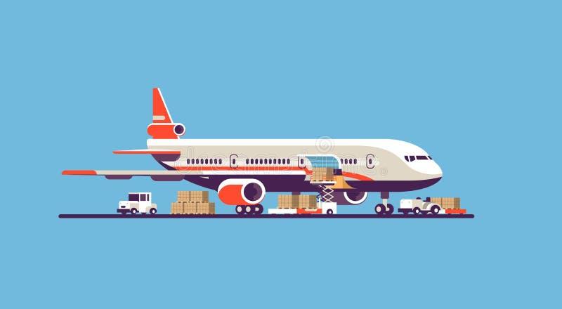 Transport airplane aircraft express delivery preparing flight airport air cargo international transportation concept vector illustration