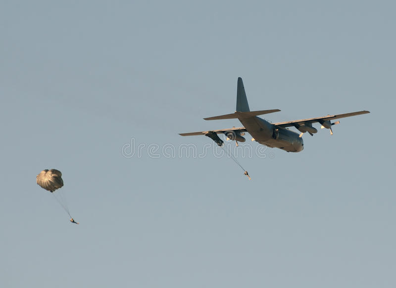 Download Transport Airplane Dropping Soldiers Stock Photo - Image: 18690286