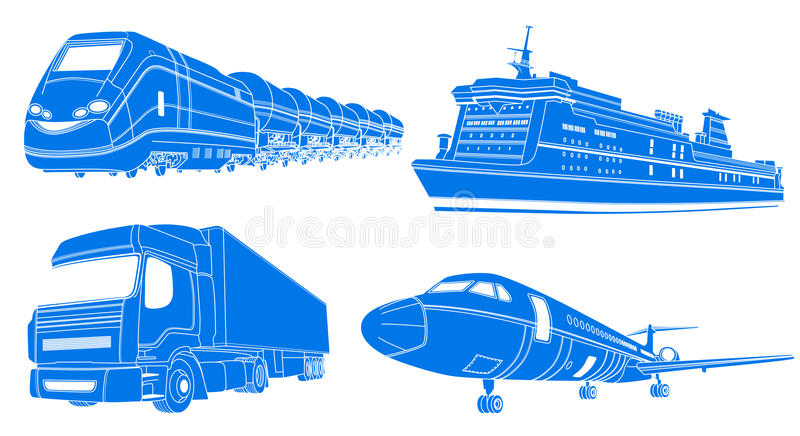 Transport: airplane, train, truck, liner. Vector illustration of Transport: airplane, train, truck, liner vector illustration