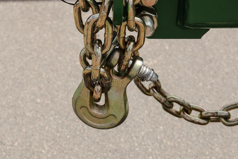 Transport anti-theft chain with padlock security lock on rear wheel, protection against theft stock photo