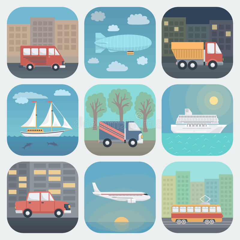 Transport App Icons Set. Detailed Transport App Icons Set in Trendy Flat Style stock illustration