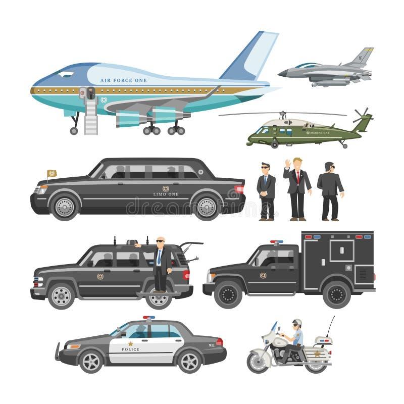 Transport automatique de vecteur de voiture de gouvernement et de luxe présidentiel d'affaires avec l'ensemble d'illustration de  illustration stock