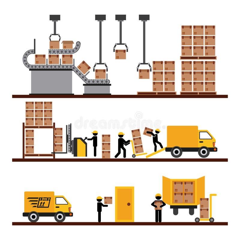 Transport av gods stock illustrationer
